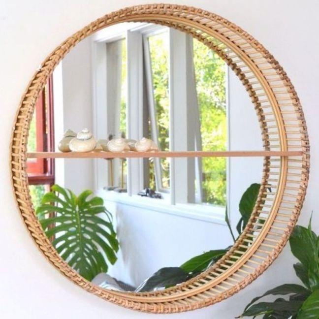 Bamboo Round Mirror with Shelf