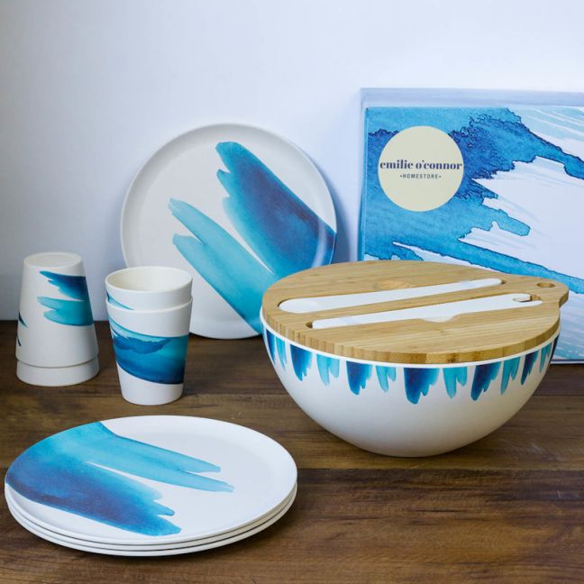 Bamboo Tableware Gift Set | Blue Wave