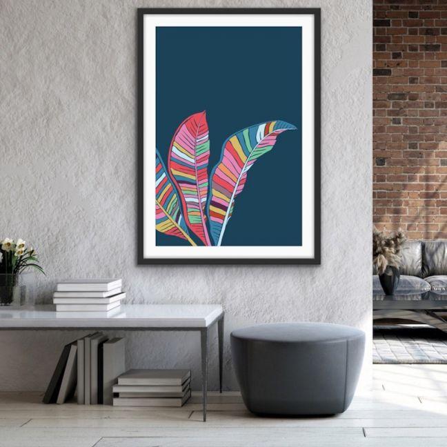 Banana Palm | Turquoise Graphic Canvas Art Print