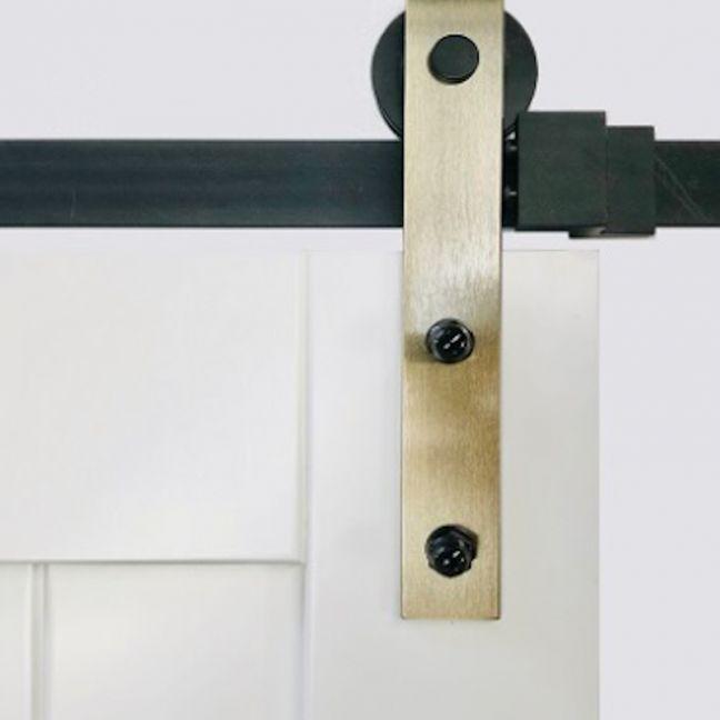 Barn Door Hardware | B02 Brass Side Mount Rollers | Black Rail 2m