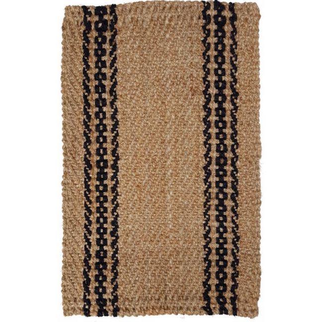 Basket Weave Jute Rug With Black Chain Stripe