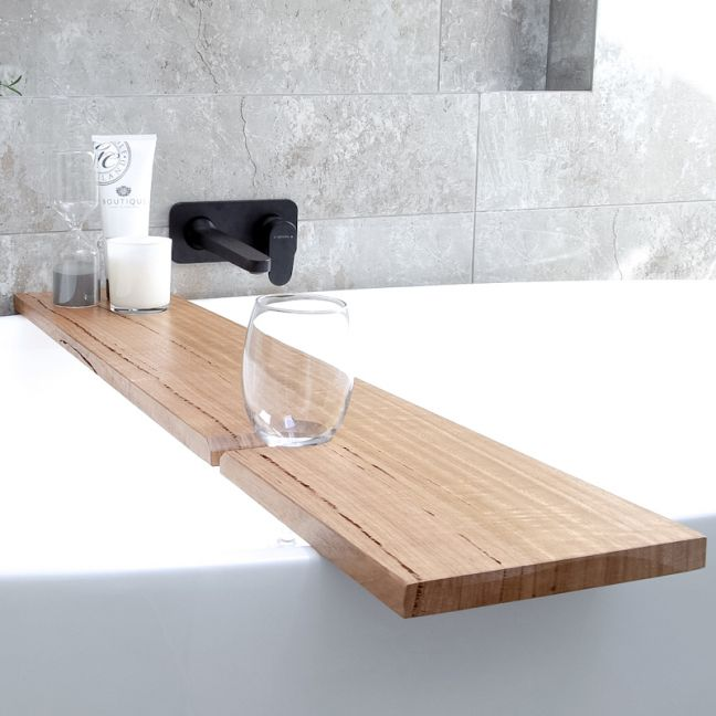 Bath Caddy with Wine Glass Slot   Jemmervale Designs
