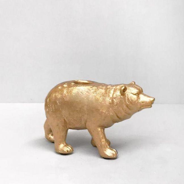 Bear Candle Holder   Gold   White Moose