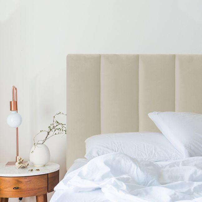 Beige Velvet Panelled Upholstered Bedhead   All Sizes   Custom Made by Martini Furniture