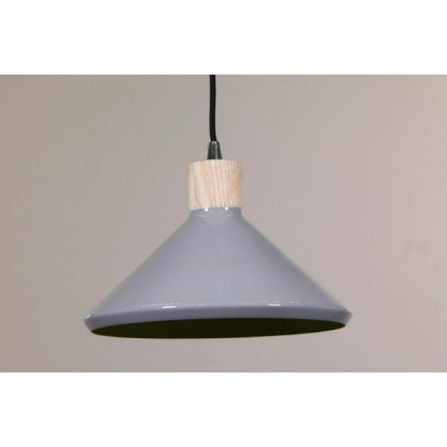 Bengt Wood Pendant Light   Veneer & Grey Luminous Green Inside