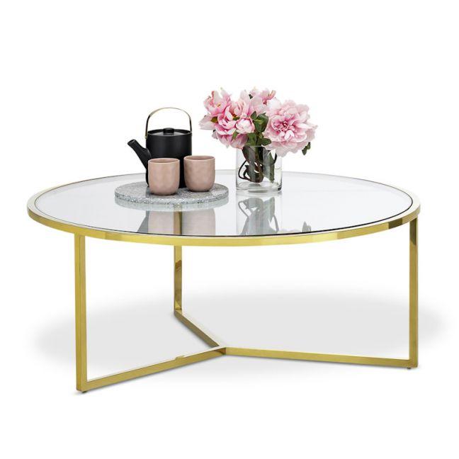 Bianka Round Glass Coffee Table | Polished Gold