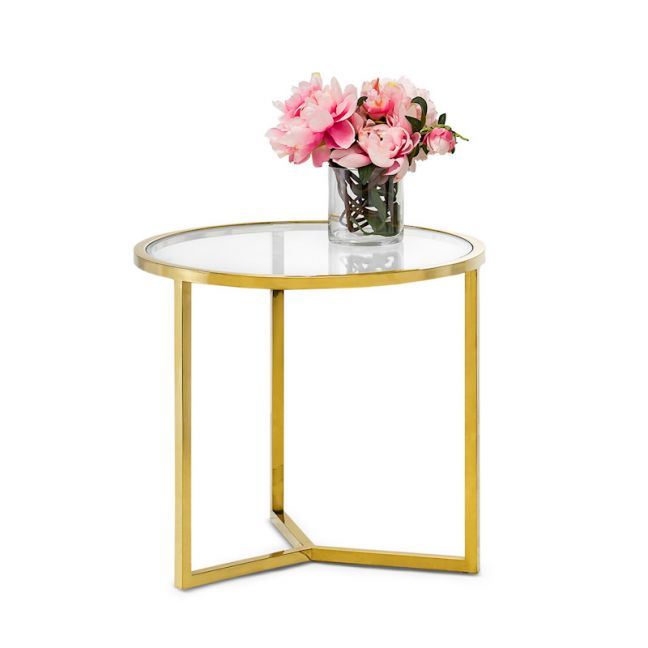 Bianka Round Glass Side Table | Polished Gold