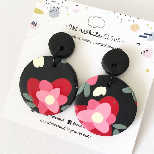 Black Floral Earrings by One White Cloud