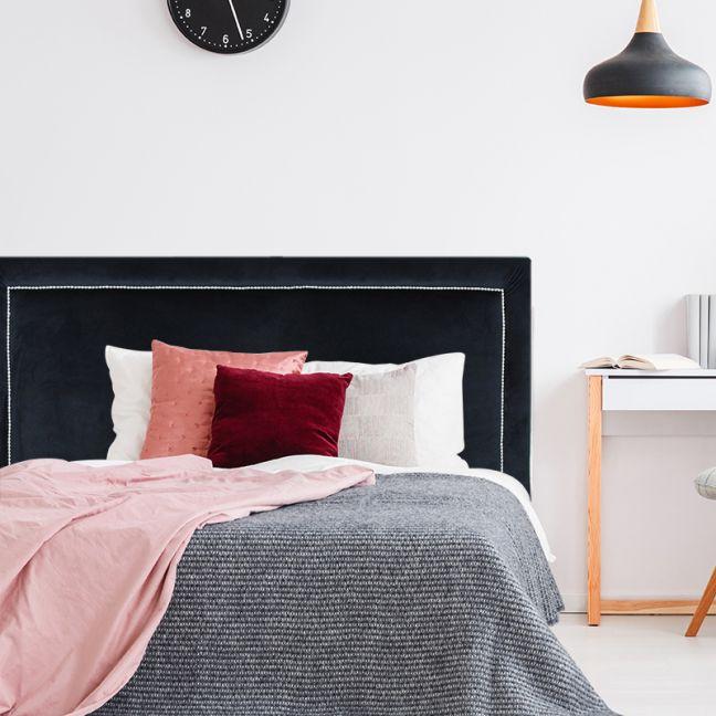 Black Velvet Studded Upholstered Bedhead   All Sizes   Custom Made by Martini Furniture