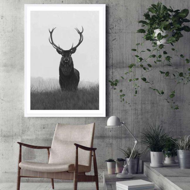 Black & White Elk Premium Art Print (Various Sizes)