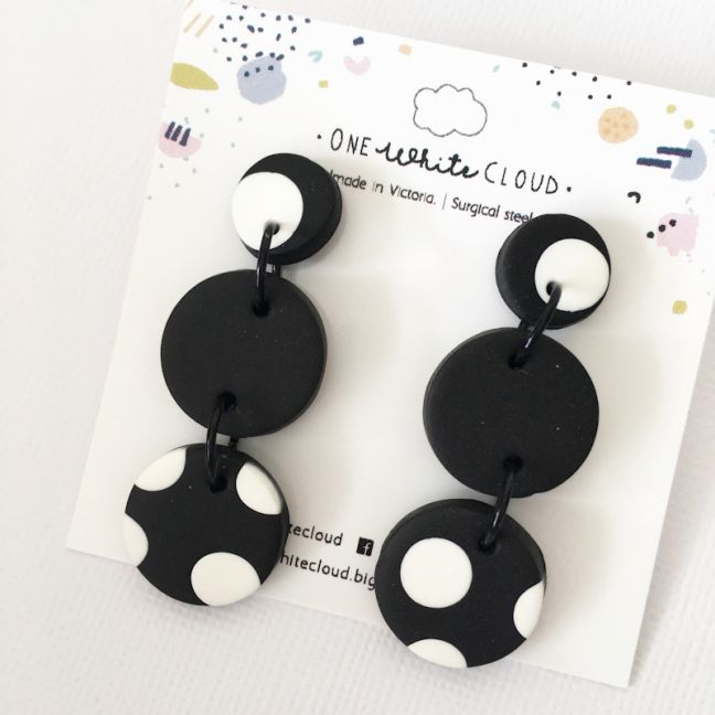 Black & White Polka Dot Trio Dangles