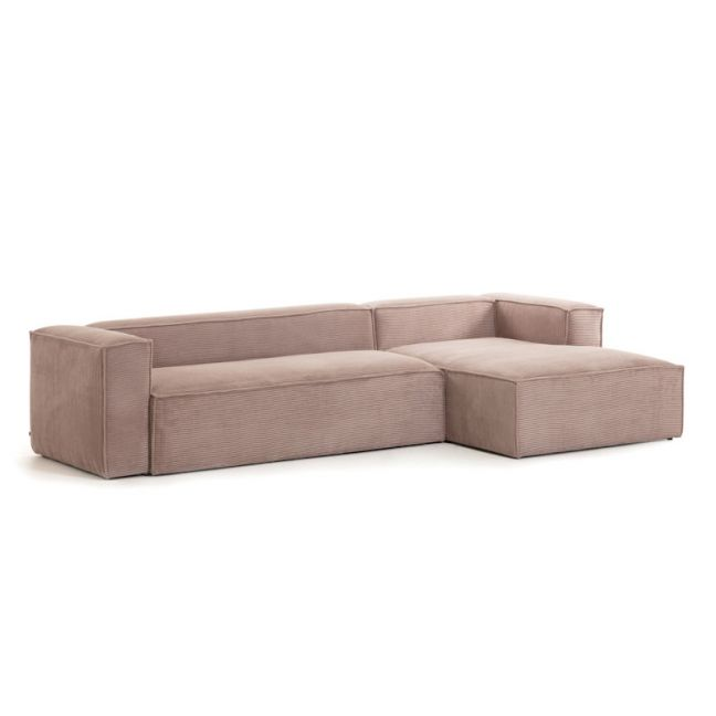 Blok Pink Corduroy 3 Seater Sofa | With Right Chaise Longue