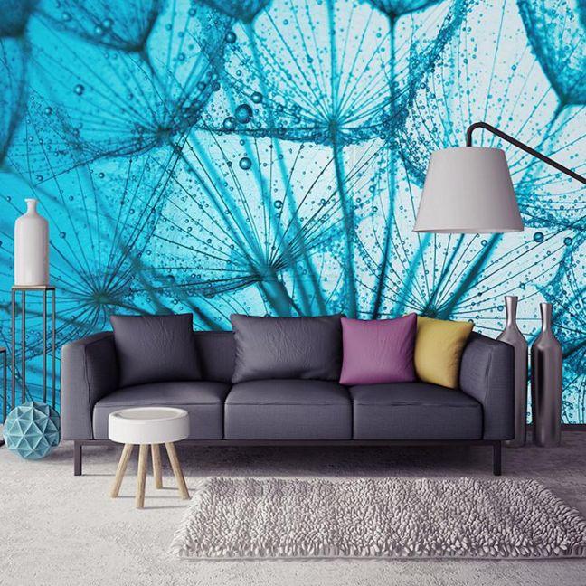 Blue Dandelions - Full Wall Mural