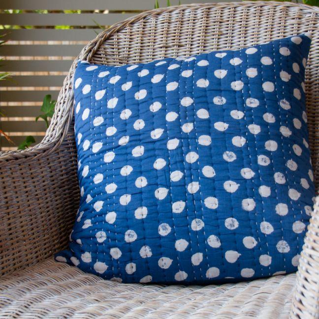 Blue Polka Dot Cushion Cover