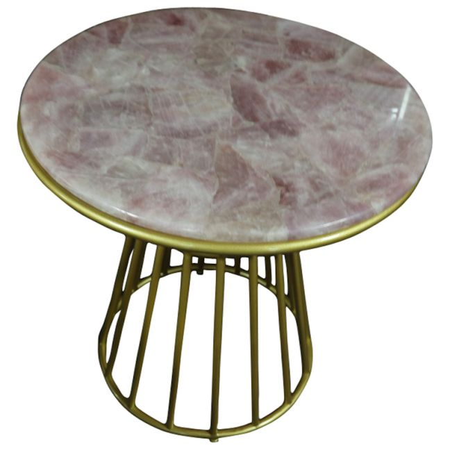 Blush Rose Quartz Side Table   Gold Metal Frame
