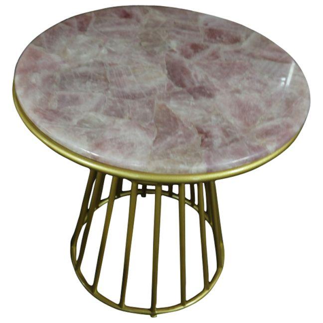 Blush Rose Quartz Side Table with Gold Metal Frame