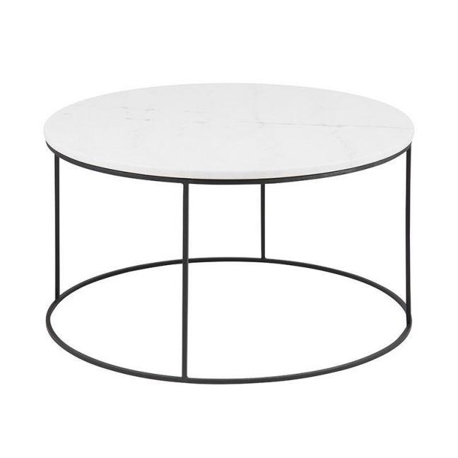 Bolton Marble Coffee Table 80Cm | White & Black
