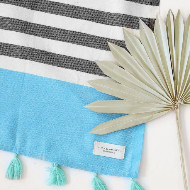 Bora Bora Turkish Towel | Black & Turquoise