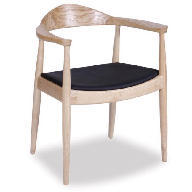 Bow Round Arm Chair | Natural American Solid Ash w/ Black Pad