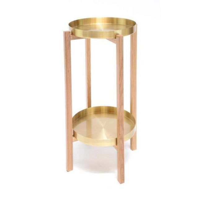 Brass Tray Round Side Table