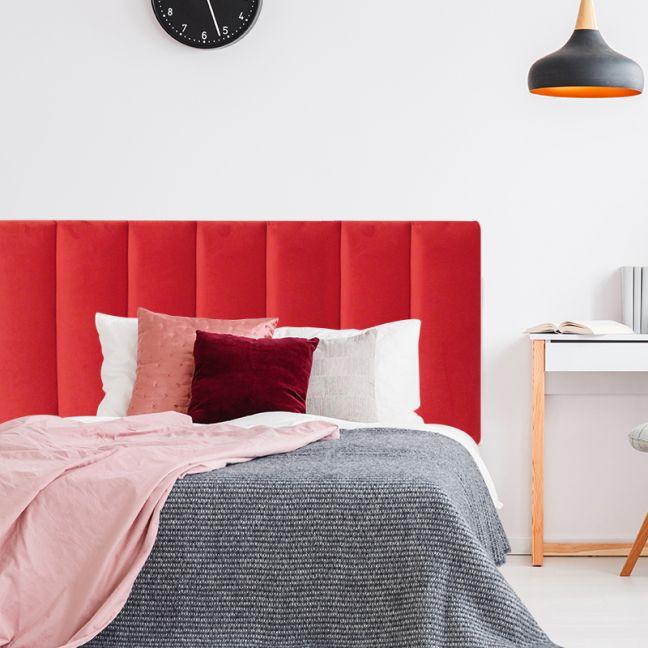 Bright Red Velvet Panelled Upholstered Bedhead   All Sizes   Custom Made by Martini Furniture
