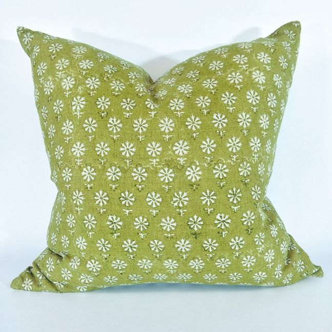Bruges Block Print Heavy-weight Cushion |  Pure Linen