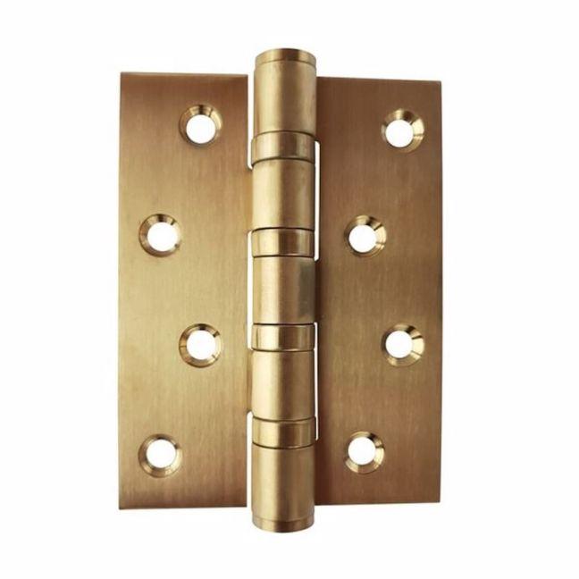 Brushed Brass Door Hinge | 100 x 75mm | 2 Hinges | Fixed Pin