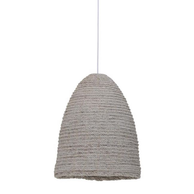 Bungalow 1 Light Pendant in White Wash   By Beacon Lighting