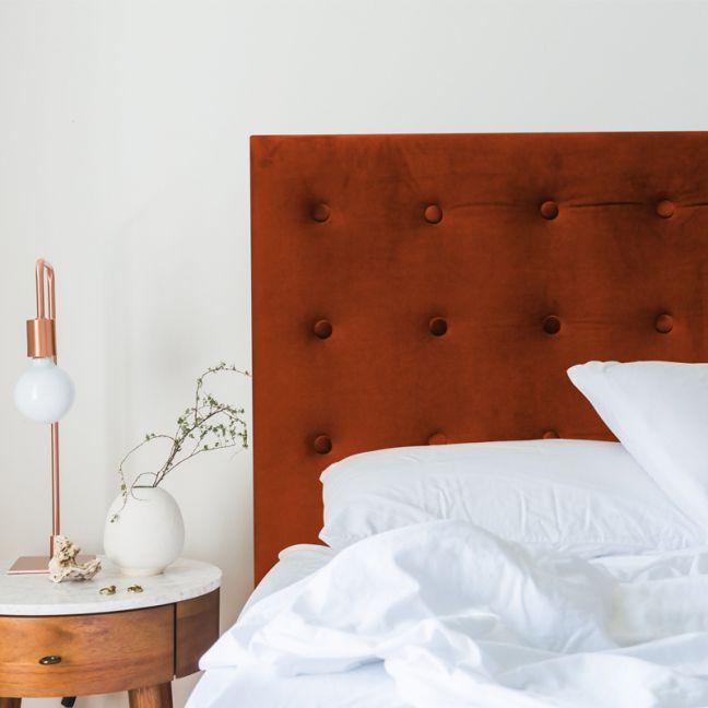 Burnt Orange Velvet Buttoned Upholstered Bedhead   All Sizes   Custom Made by Martini Furniture