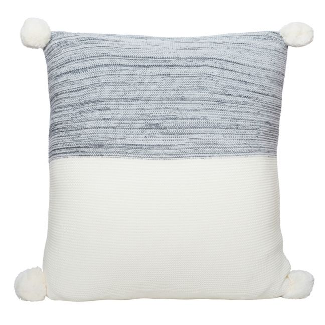 Calgary Pom Pom Knitted Cushion | Charcoal