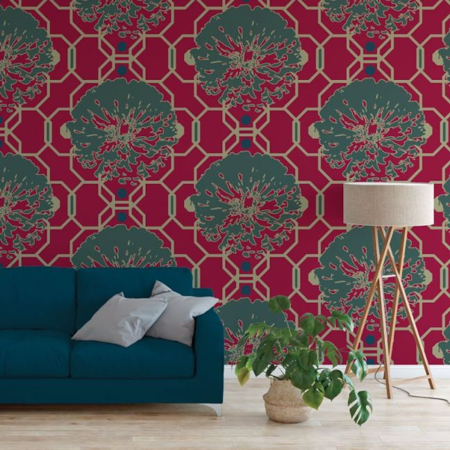 Camilla - Nature's Glamour   Eco Wallpaper   Camilla Cerise   Amba Florette