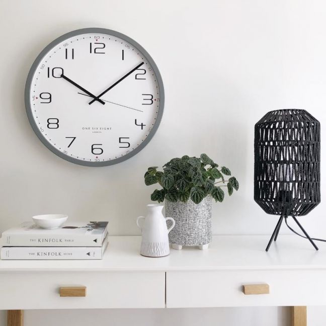 Carmen Cool Grey Silent Sweep Wall Clock 40cm by One Six Eight London