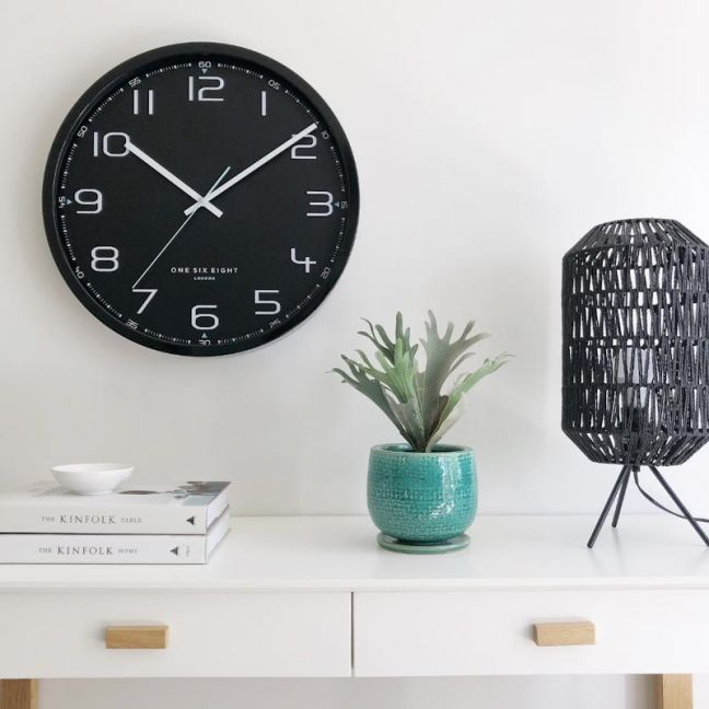 Carter Black Silent Sweep Wall Clock 30cm by One Six Eight London