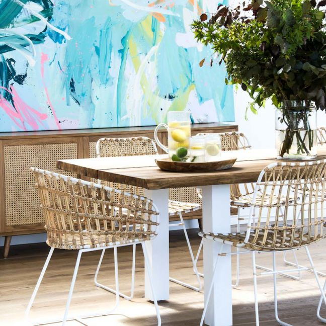 Cesta Dining Arm Chair | Natural White with Natural Linen Cushion by SATARA