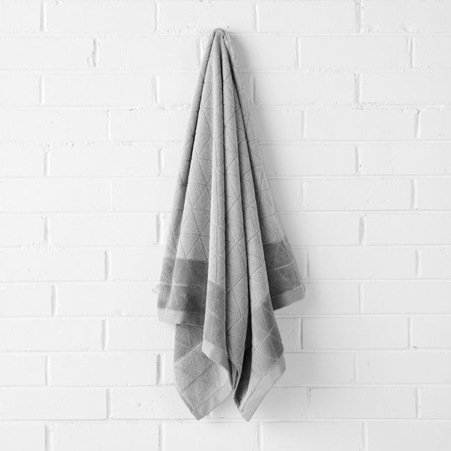 Chambray Border Bath Towel | Dove by Aura Home