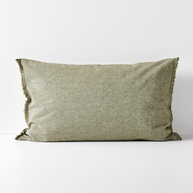 Chambray Fringe Standard Pillowcase | Olive by Aura Home