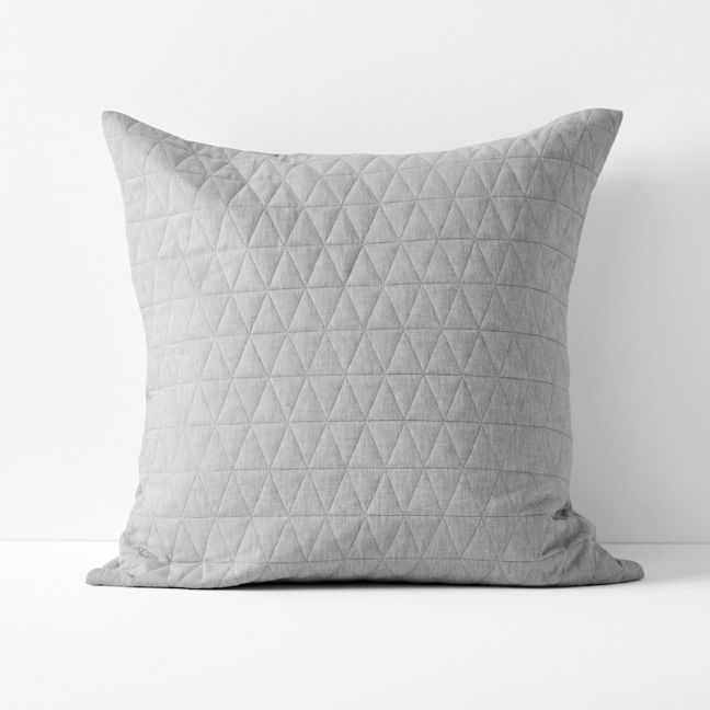 Chambray Quilted European Pillowcase | Dove by Aura Home