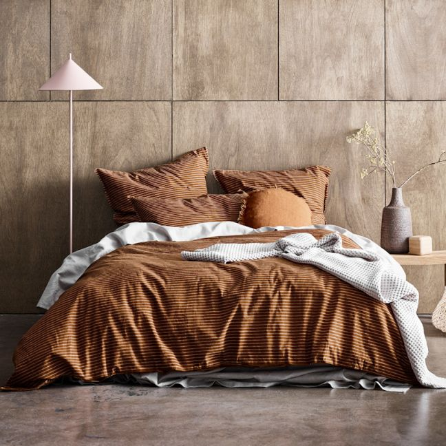 Chambray Vintage Stripe Quilt Cover | Cinnamon by Aura Home