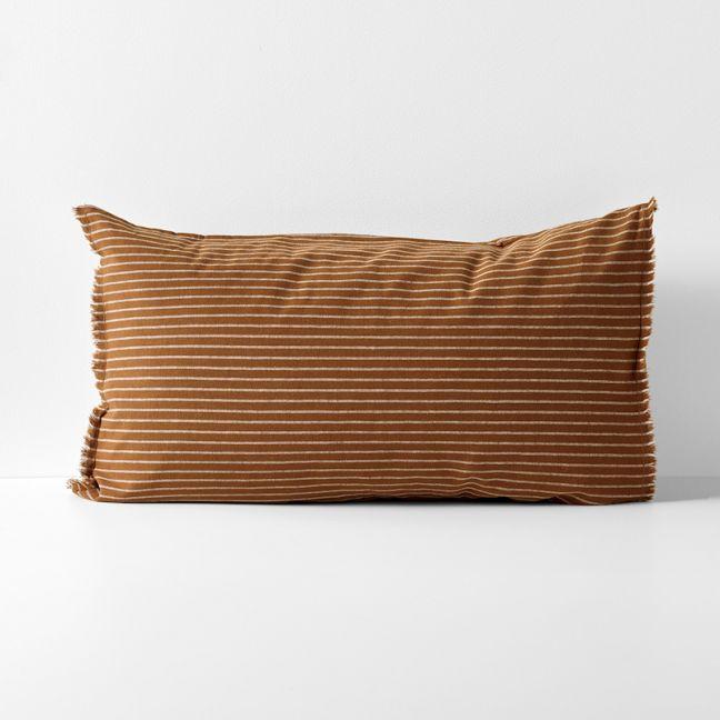 Chambray Vintage Stripe Standard Pillowcase | Cinnamon by Aura Home