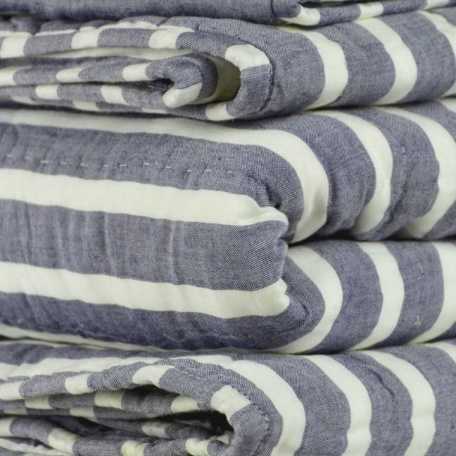 Charcoal Ivory Striped Quilt/ King Single