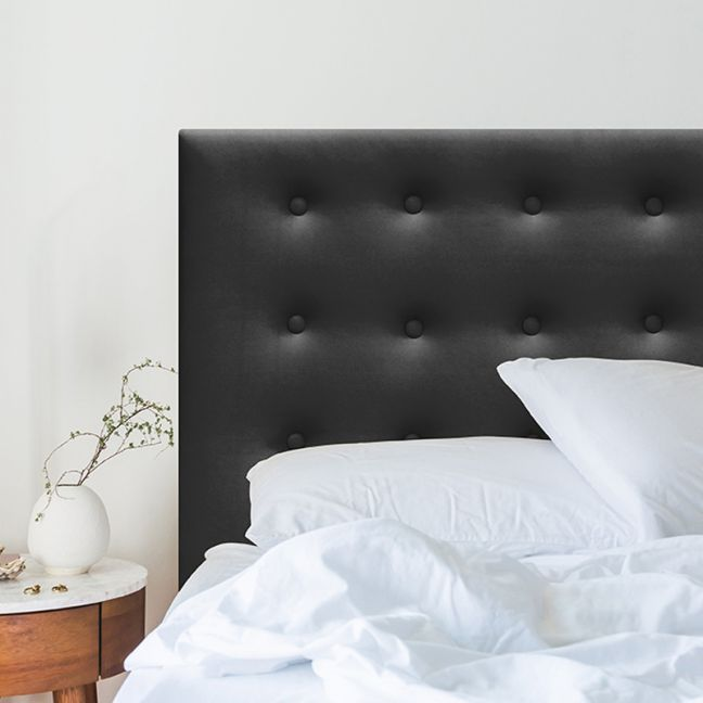 Charcoal Velvet Buttoned Upholstered Bedhead   All Sizes   Custom Made by Martini Furniture