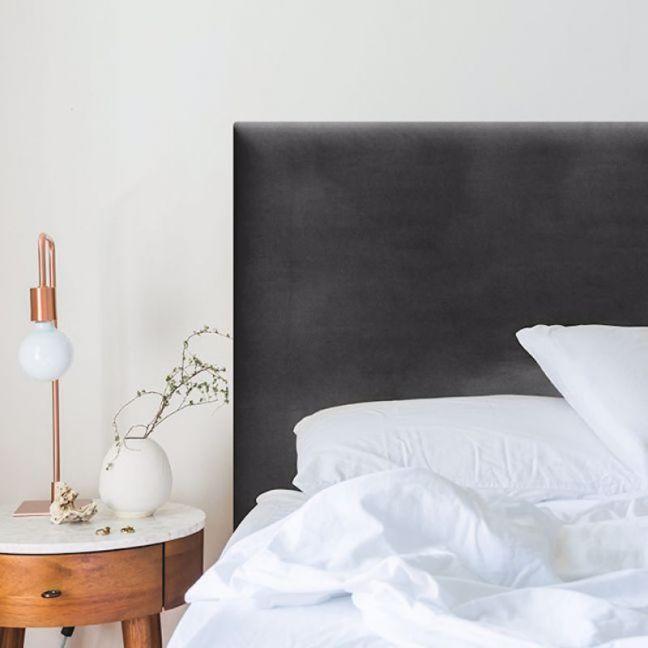 Charcoal Velvet Plain Upholstered Bedhead   All Sizes   Custom Made by Martini Furniture