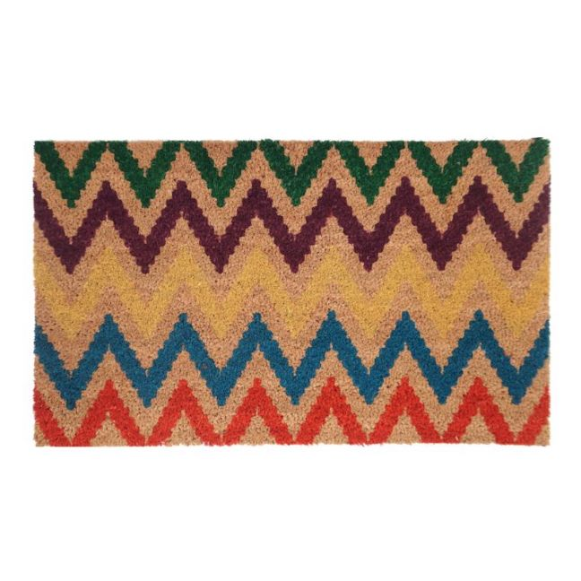 Chevrom Multicolour | PVC Backed Coir Doormat | Fab Habitat