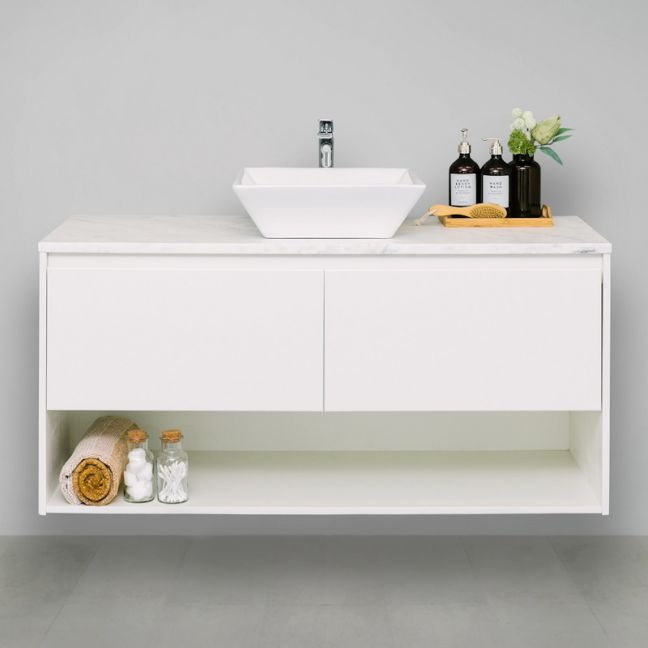 Chevron 20mm Solid Surface Top 1200 Wall Mount Vanity