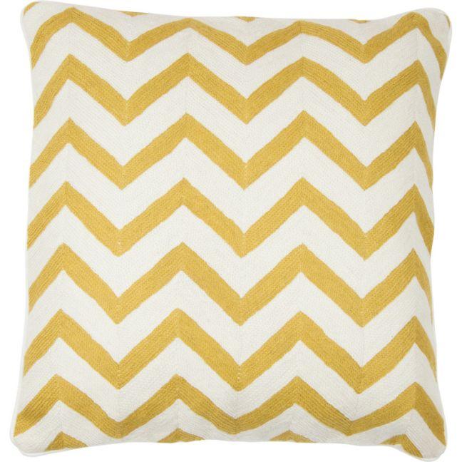 Chevron Hand Embroidered Cushion | Ochre | Schots
