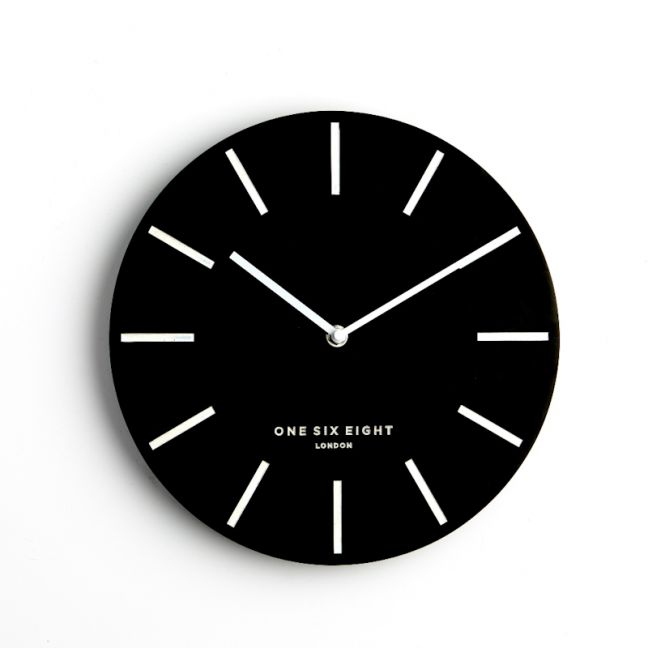 Chloe - Black 30cm SILENT Wall Clock