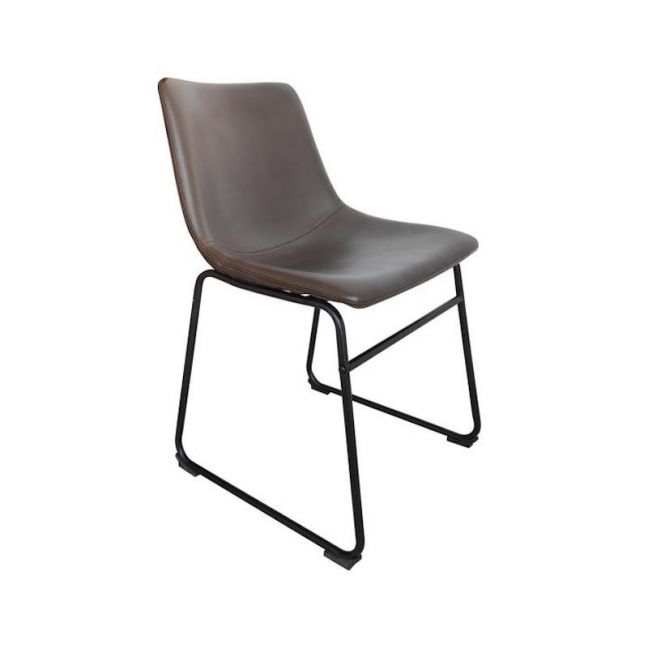 Chotto Brown PU Leather Dining Chairs   Set of 2   Tan