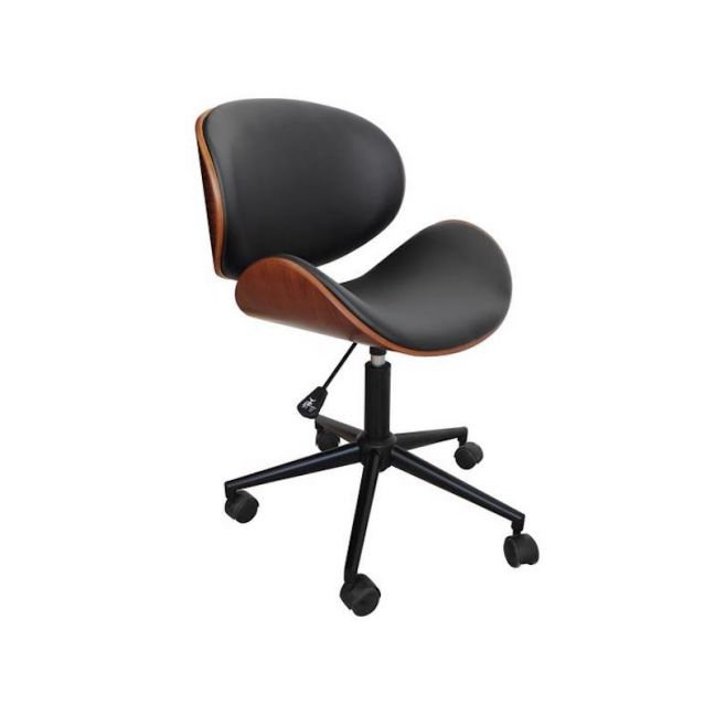 Chotto Vegan Leather Curved Wooden Office Desk Chair   Black