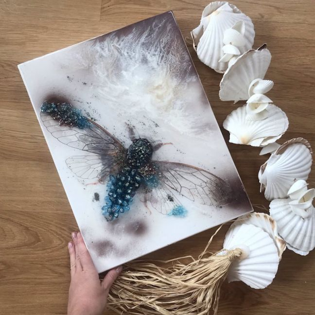 Cicada in Crystals | Original Artwork Commission | 30x40cm | Antuanelle