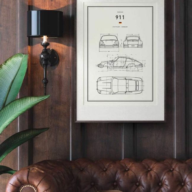 Classic Car Blueprints   Print   Stretched Canvas or Printed Panel